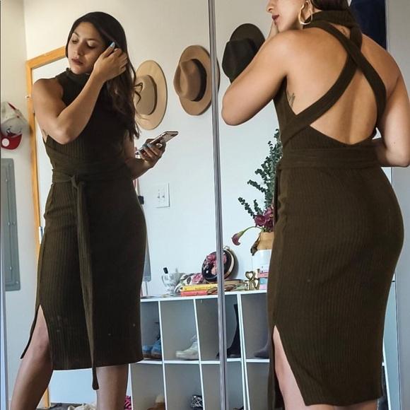 Dresses & Skirts - Olive Wrap Tie Bodycon Midi Dress